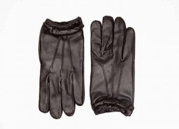 8232-1 Kort herrehanske med knapp, strikk og ullfor, Shooting glove - brun-oversiden av hanskene