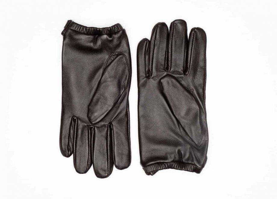 8232-1 Kort herrehanske med knapp, strikk og ullfor, Shooting glove - brun-undersiden av hanskene