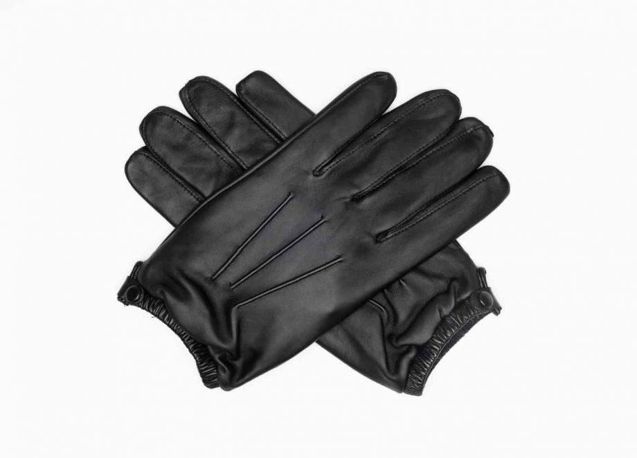 8232-1 Kort herrehanske med knapp, strikk og ullfor, Shooting glove - sort-hansker i kryss