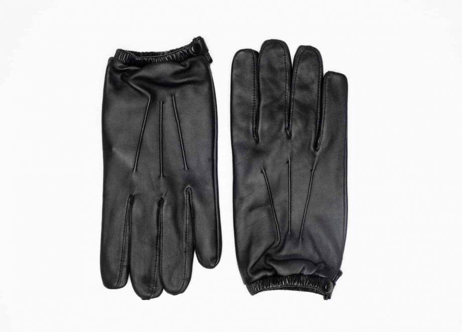 8232-1 Kort herrehanske med knapp, strikk og ullfor, Shooting glove - sort-oversiden av hanskene