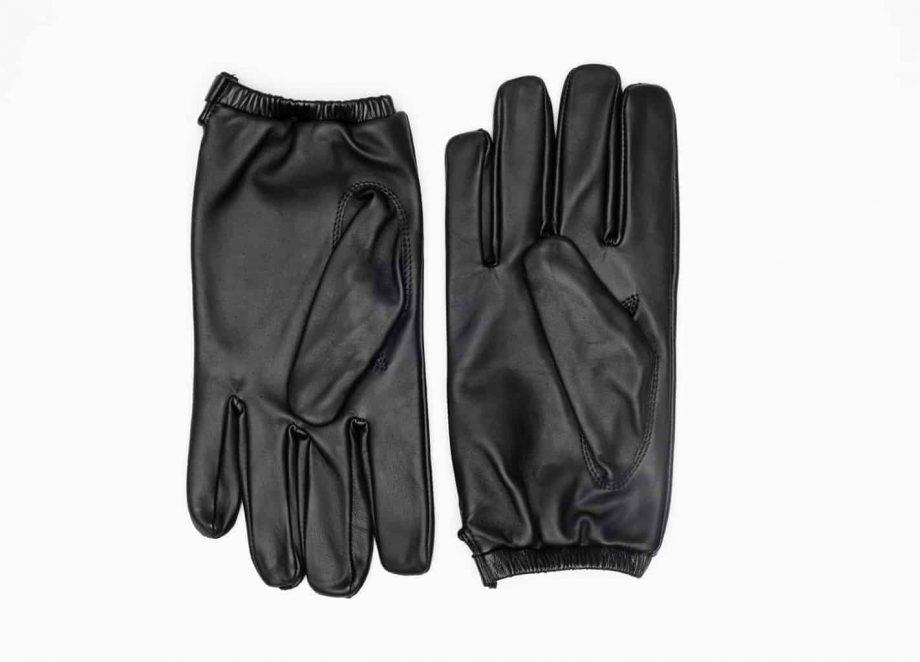 8232-1 Kort herrehanske med knapp, strikk og ullfor, Shooting glove - sort-undersiden av hanskene