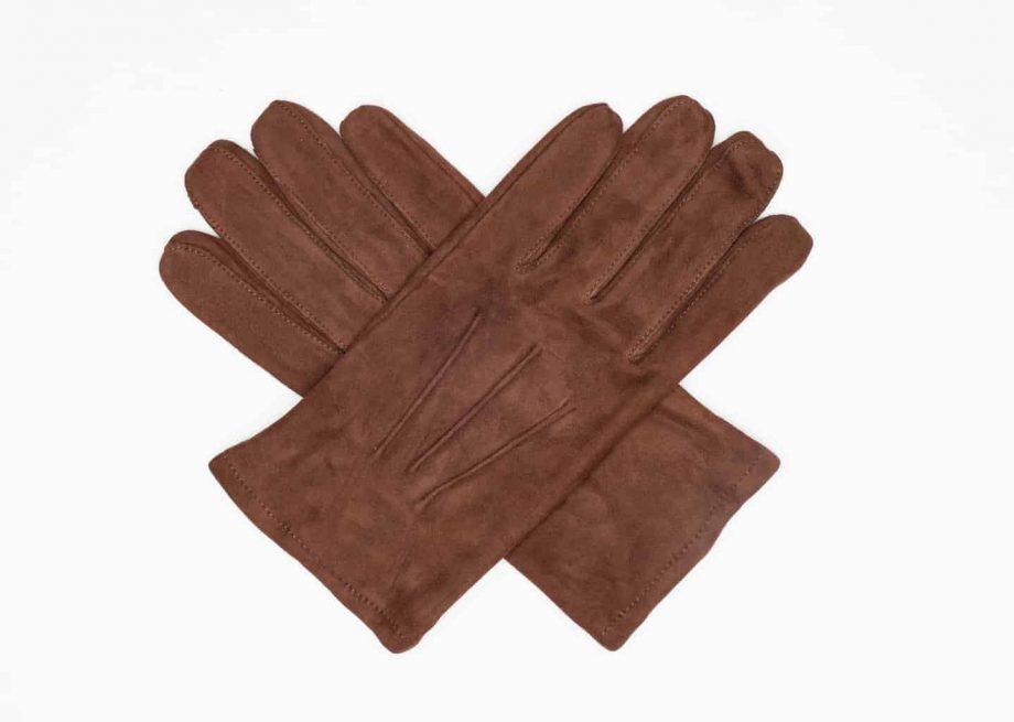 8245-1 Semskede herrehansker med ullfor - Ellegant - brun - i kryss