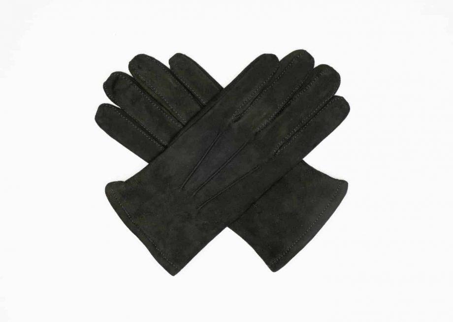 8245-1 Semskede herrehansker med ullfor - Ellegant - oliven - hanskene i kryss