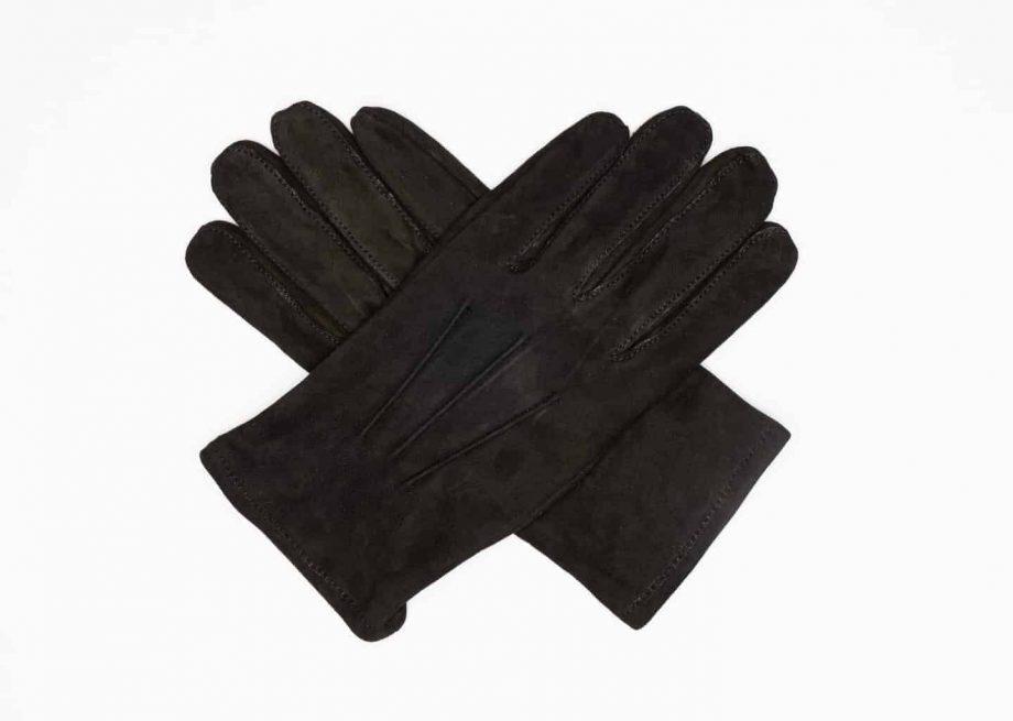 8245-1 Semskede herrehansker med ullfor - Ellegant - sort - hanskene i kryss