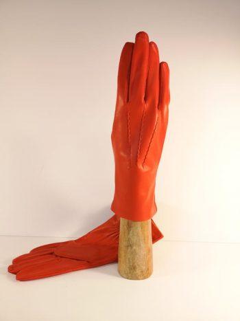 917401-ORA Oransje lammeskinnshansker til dame, denter - på hanskehaand