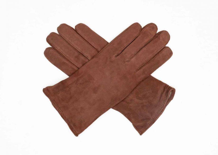 9250-1 Semskede damehansker ullfor brun