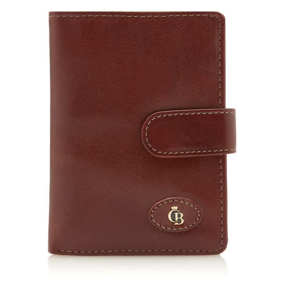 42 5420 Castelijn Beerens Tri Fold Zip Wallet RFID Cognac Forside