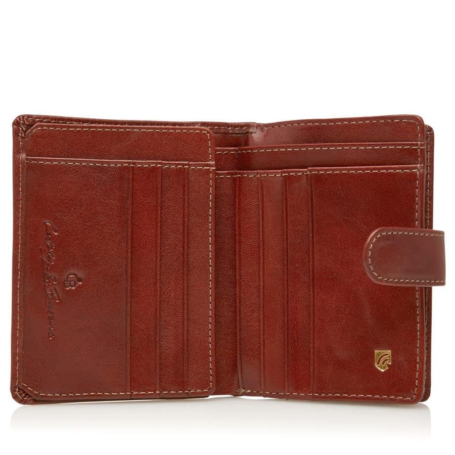 42 5420 Castelijn Beerens Tri Fold Zip Wallet RFID Cognac Innside