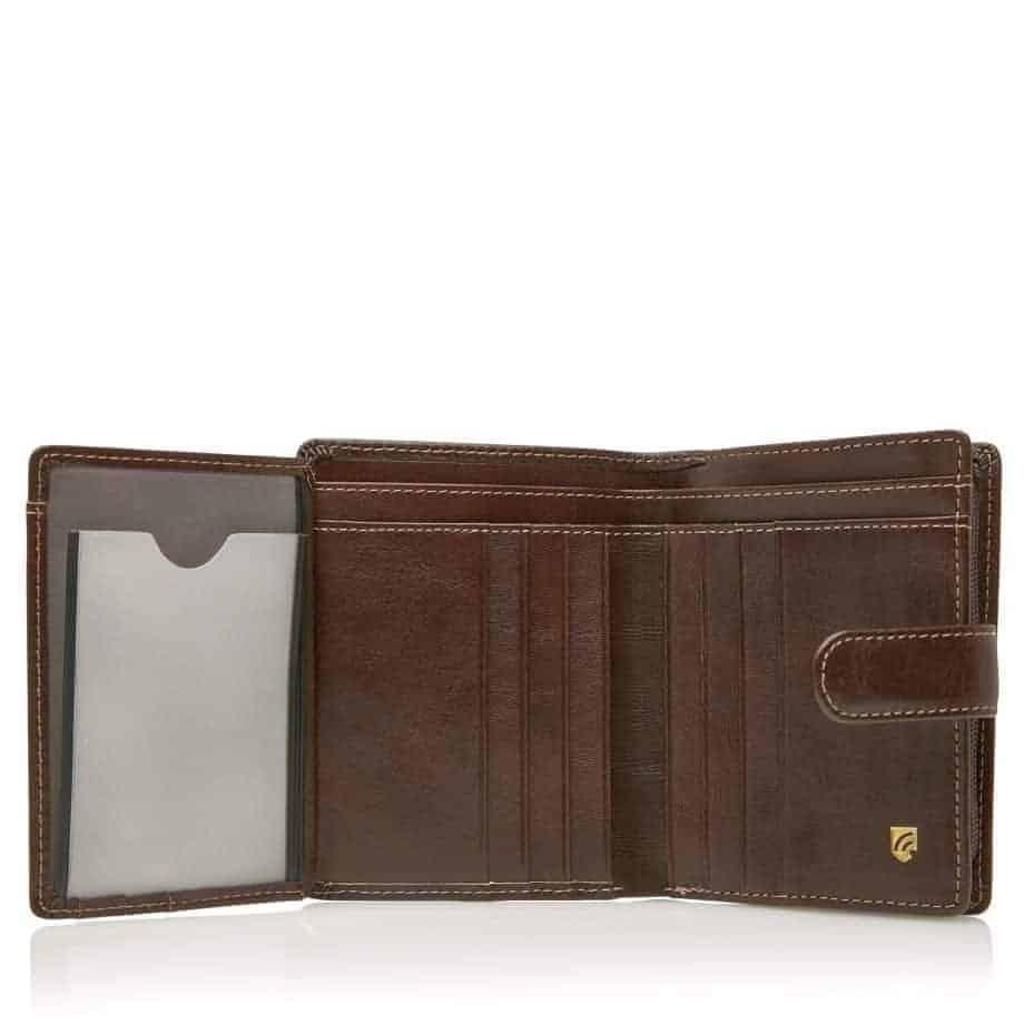 42 5420 Castelijn Beerens Tri Fold Zip Wallet RFID Mocca Innside 2