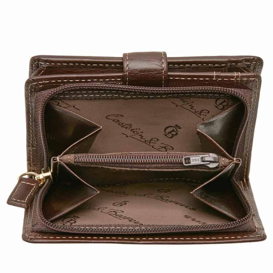 42 5420 Castelijn Beerens Tri Fold Zip Wallet RFID Mocca Innside 3