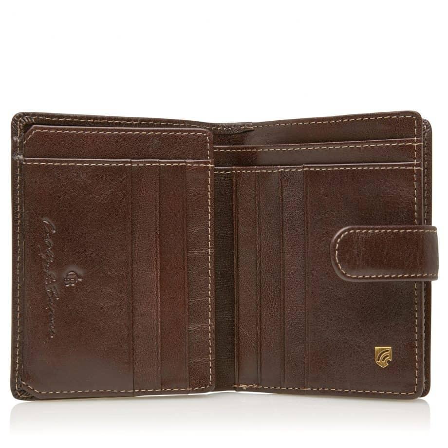 42 5420 Castelijn Beerens Tri Fold Zip Wallet RFID Mocca Innside