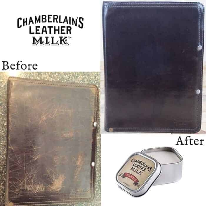 Chamberlain´s Leather Healing Balm - W-CLM-HB-4 - before and after dokumentmappe
