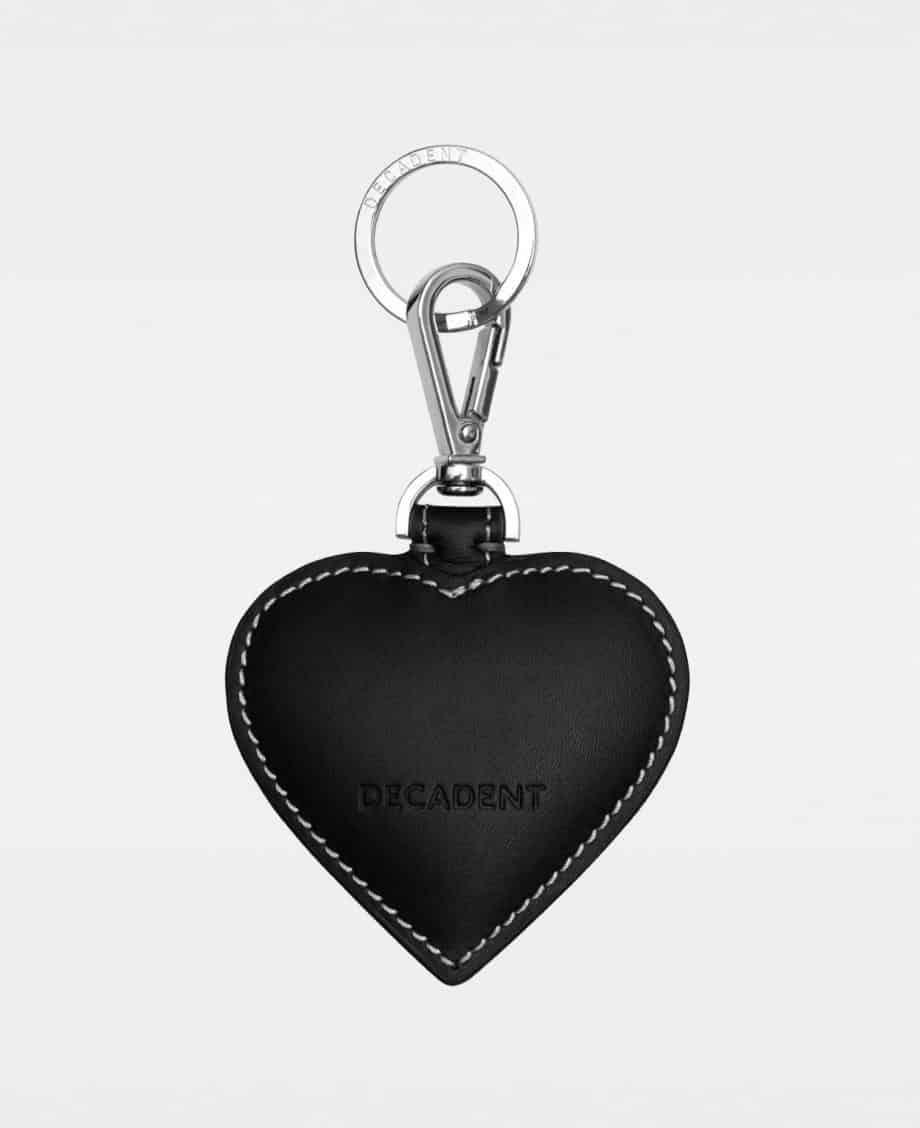 DE118 Decadent Heart Keyring Suede Black Bakside
