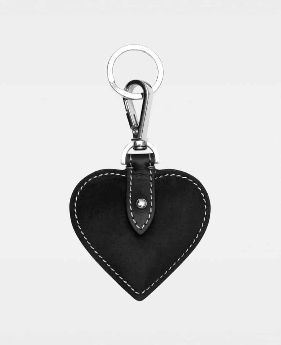 DE118 Decadent Heart Keyring Suede Black Forside