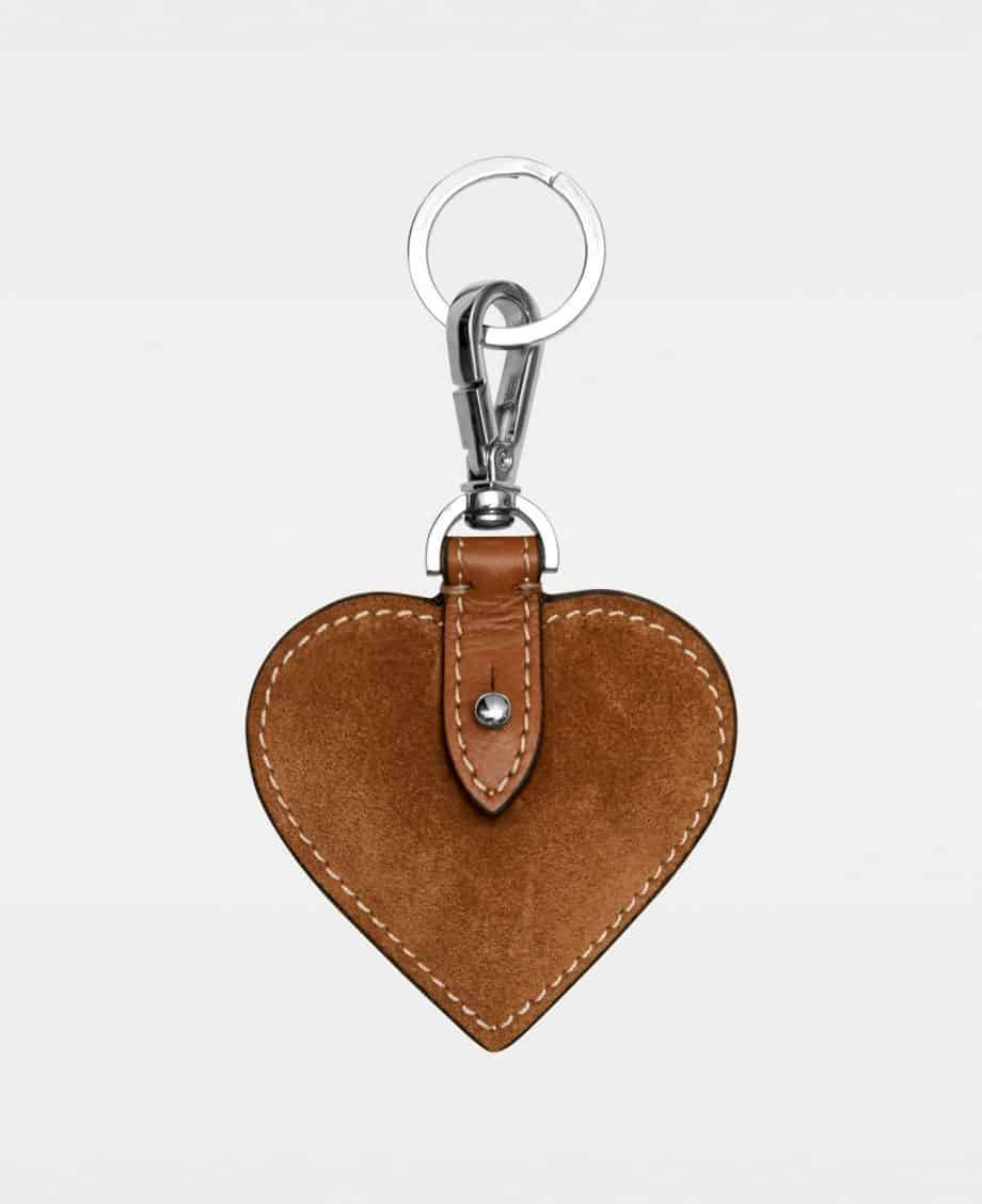 DE118 Decadent Heart Keyring Suede Cognac Forside