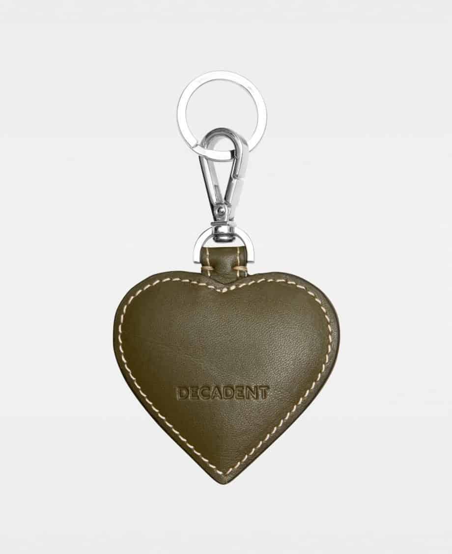 DE118 Decadent Heart Keyring Suede Army Bakside
