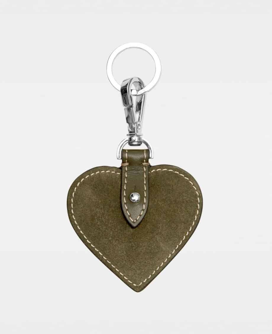 DE118 Decadent Heart Keyring Suede Army Forside