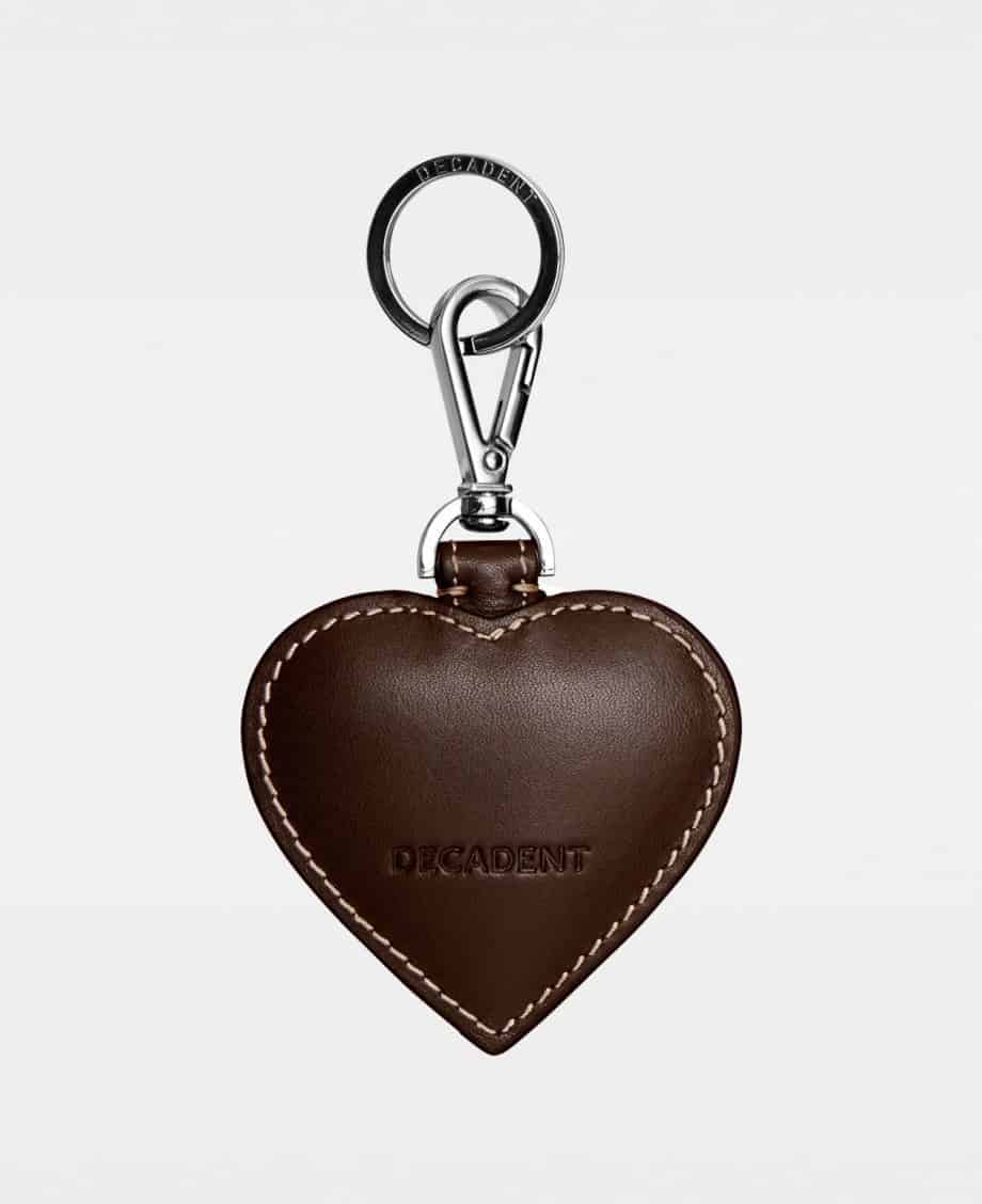 DE118 Decadent Heart Keyring Suede Dark Brown Bakside