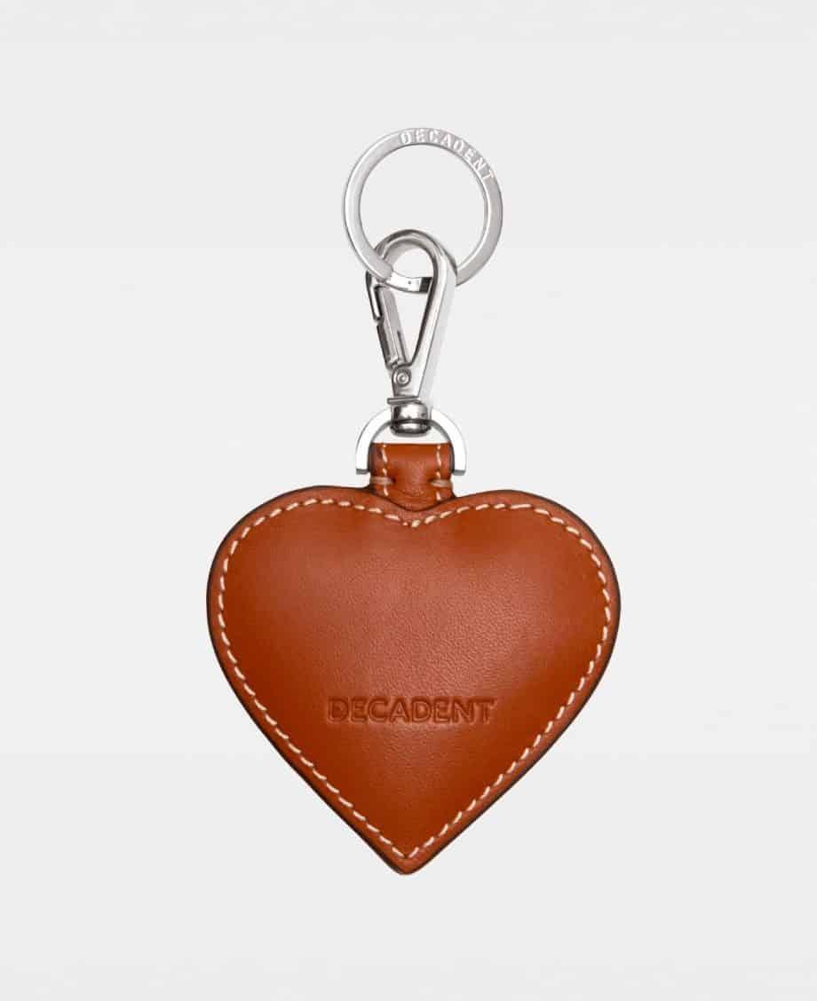 DE118 Decadent Heart Keyring Suede Scarlet Red Bakside