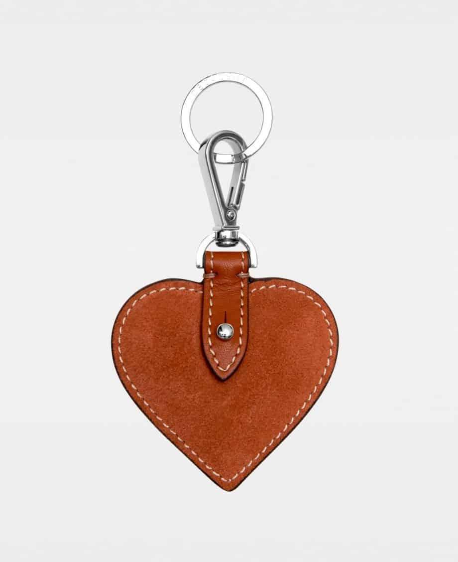 DE118 Decadent Heart Keyring Suede Scarlet Red Forside