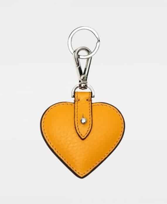 DE118 Decadent Heart yellow gul Keyring forside