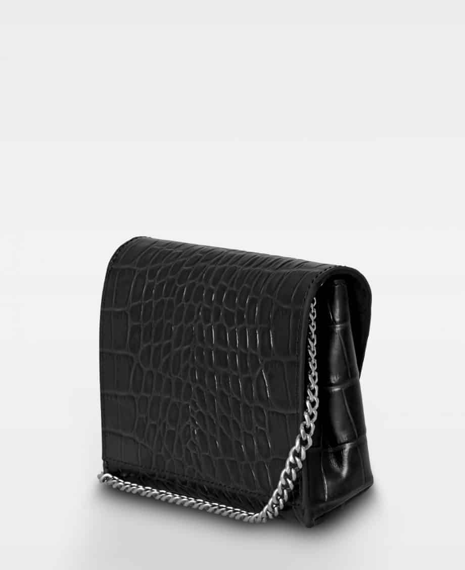 DE143 Decadent Cleva small pouch croco black bakside