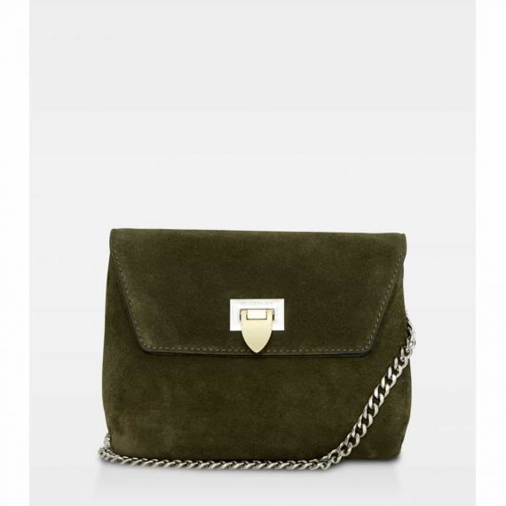 DE143 Decadent Cleva small pouch suede army forside