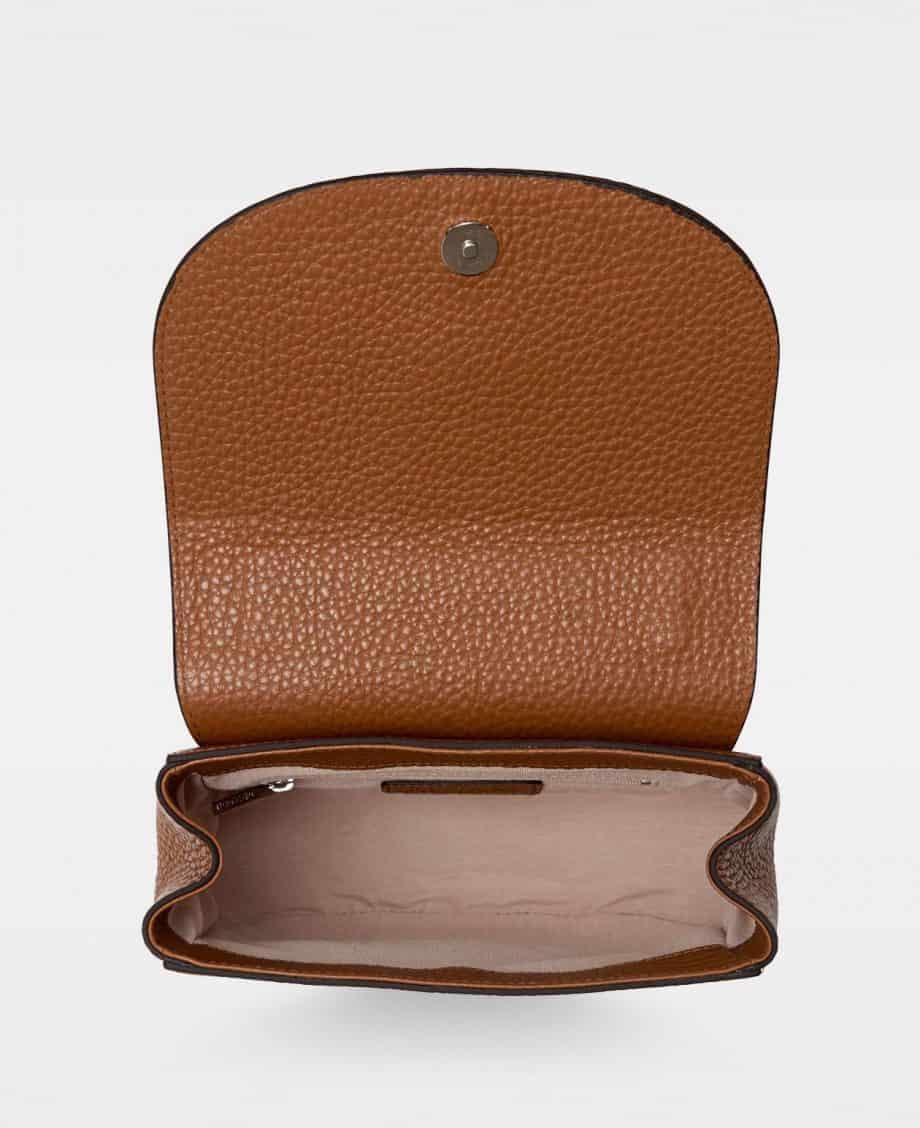 DE206 Kim satchel bag cognac innside