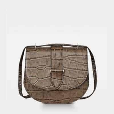 DE206 Kim satchel bag croco nougat forside
