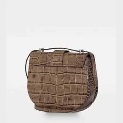 DE206 Kim satchel bag croco nougat side