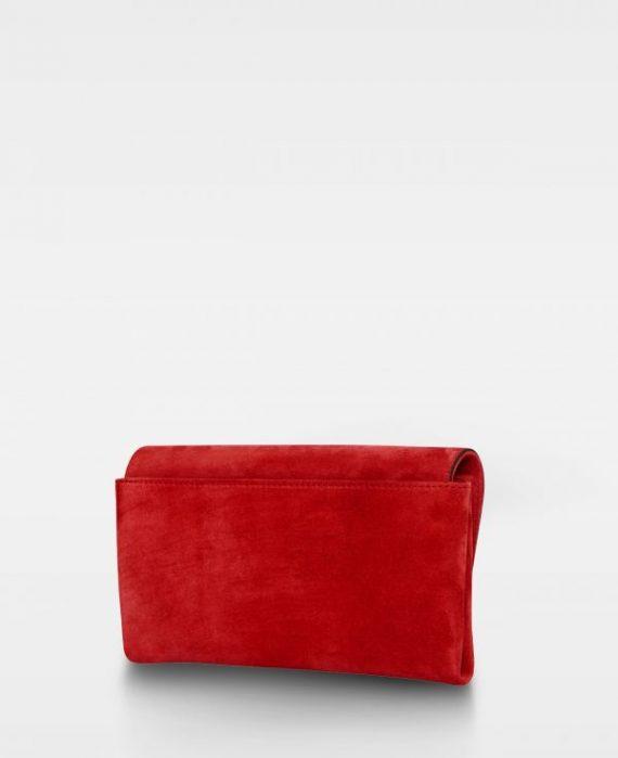 DE406 Decadent Nora clutch suede scarlet red bakside