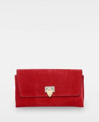 DE406 Decadent Nora clutch suede scarlet red forside
