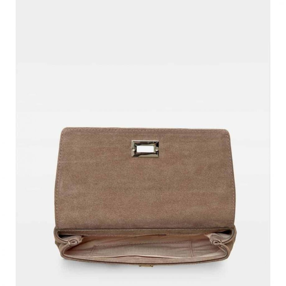 DE406-Decadent-Nora-small-clutch-suede-nougat-open