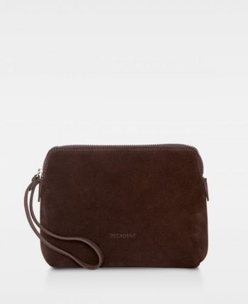 DE502 Decadent Hannah makeup purse suede mørkbrun forside
