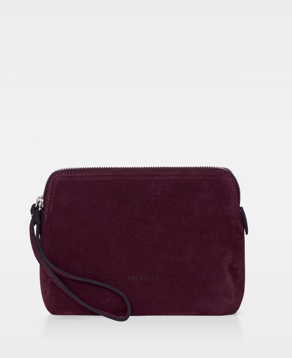 DE502 Decadent Hannah makeup purse suede oxblood forside