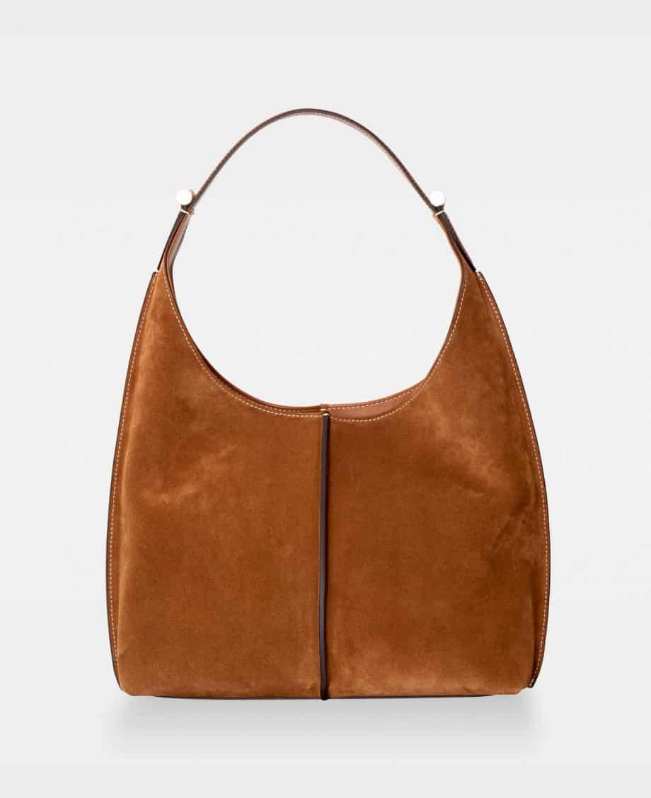 DE751 Carol Small Shoulder Bag Suede Cognac Forside