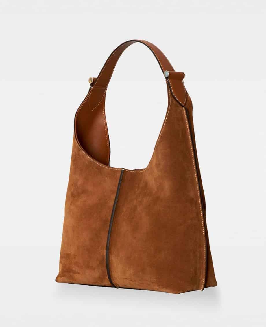 DE751 Carol Small Shoulder Bag Suede Cognac Side