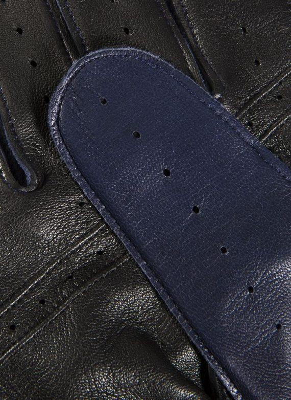 DENTS Waverley kjørehansker, premium hairsheep royal blue - detalj finger