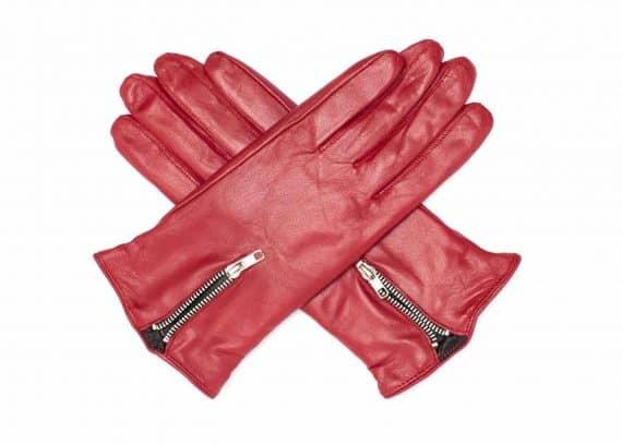 Damehansker med glidelaas og kontrast 960401 rød-sort hanskene i kryss