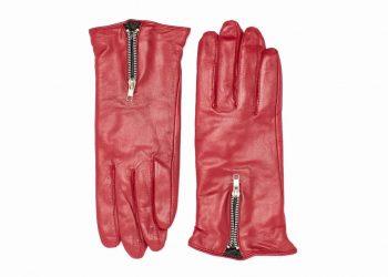 Damehansker med glidelaas og kontrast 960401 rød-sort oversiden av hanskene