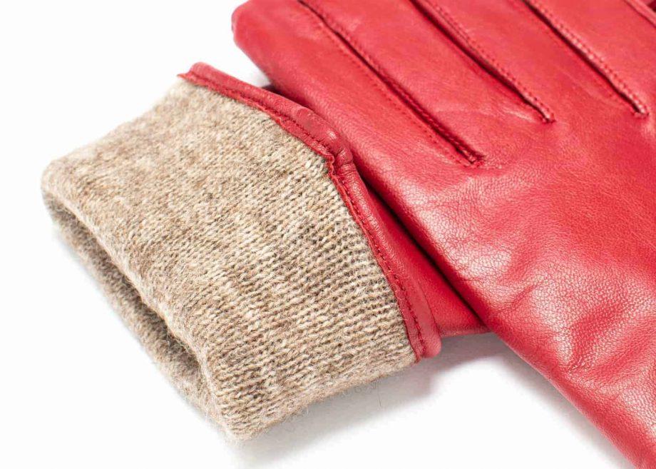 Damehansker med glidelaas og kontrast 960401 rød-sort detalj, fôrkant