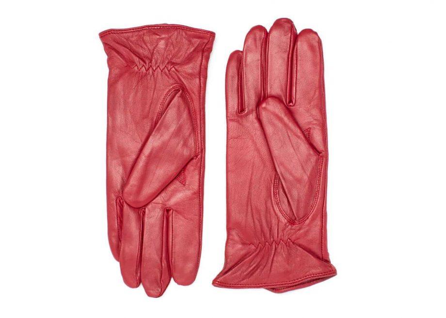 Damehansker med glidelaas og kontrast 960401 rød-sort undersiden av hanskene