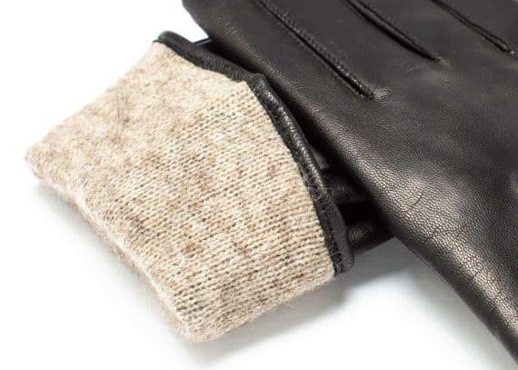 Damehansker med glidelaas og kontrast 960401 sort-grå detalj ullfôr
