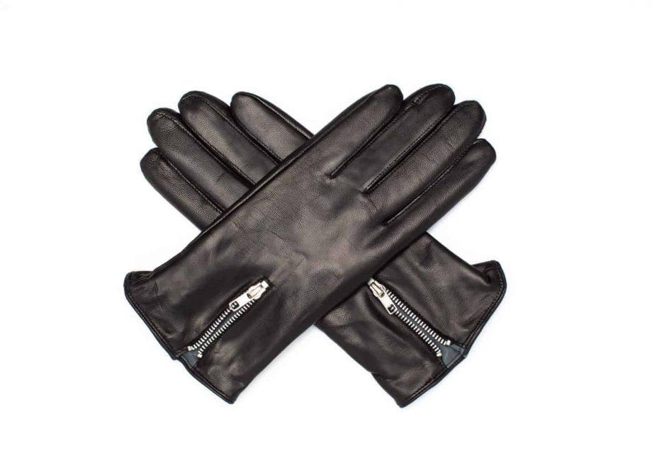 Damehansker med glidelaas og kontrast 960401 sort-grå hanskene i kryss