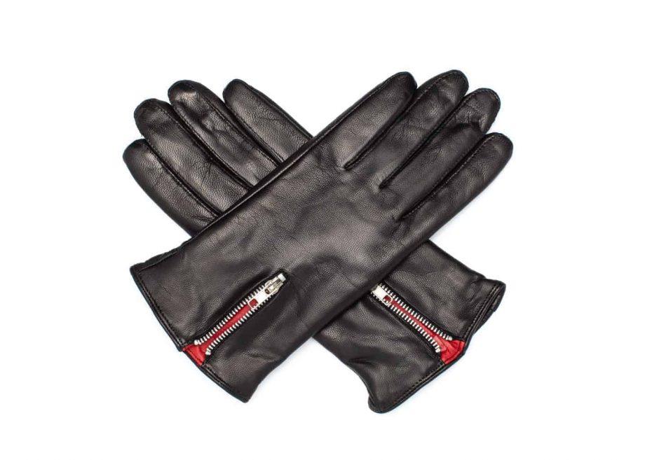 Damehansker med glidelaas og kontrast 960401 sort-rød hanskene i kryss