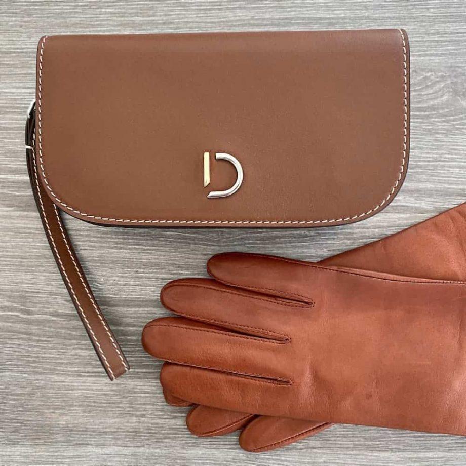 Decadent Maren hand purse cognac med cognac hansker med silkefor 3 tommer 70914504