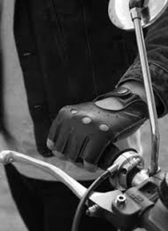 Dents Snetterton kjorehansker uten fingre - sort hvitt