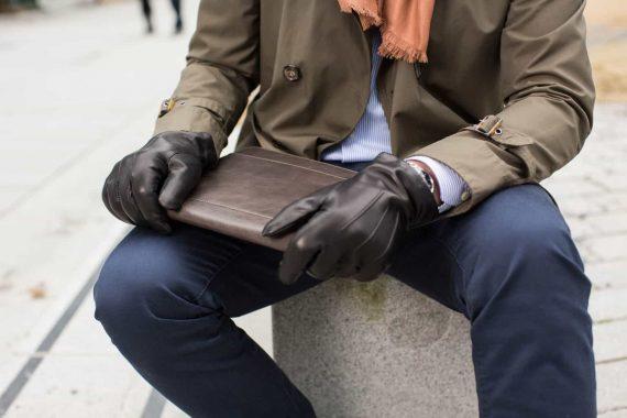 slim fit-hansker til herre og buddy dokumentmappe