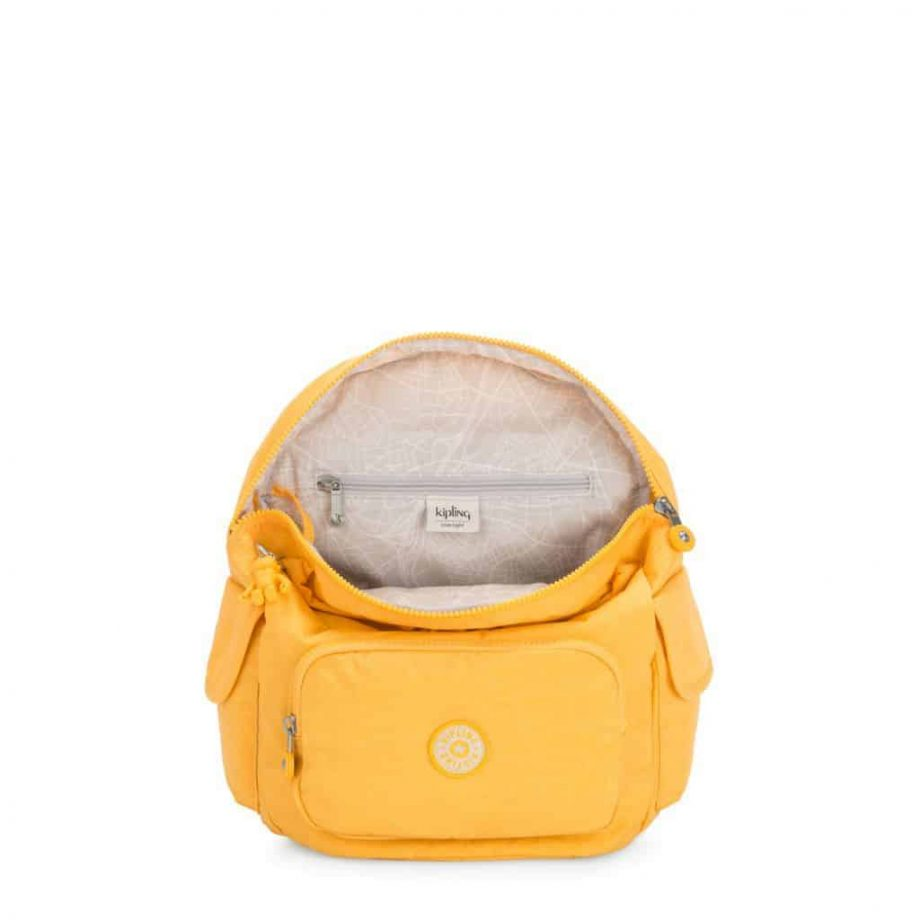 Kipling CITY PACK S Vivid Yellow open
