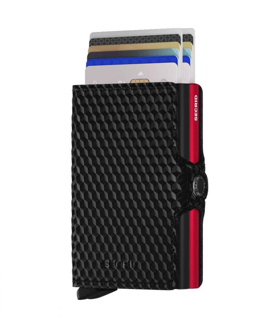 Secrid Twinwallet Cubic Black Red Forside 2